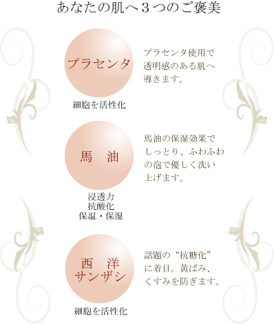 プラセンタ石鹸特徴